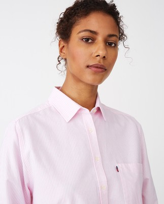 Isa Organic Cotton Oxford Shirt Pink/White Stripe