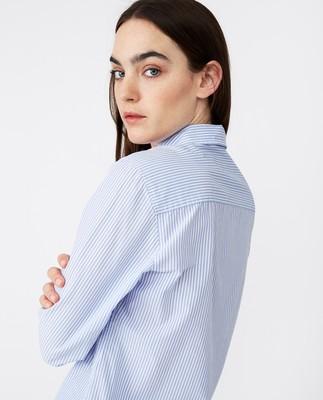 Emily Poplin Shirt, Blue/White Stripe