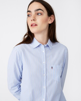 Emily Poplin Shirt, Blue/White Stripe