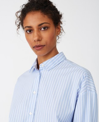 Edith Lt Oxford Shirt, Blue/White Stripe