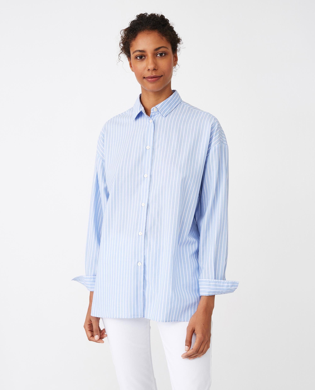 Edith Lt Oxford Shirt, Blue/White Stripe