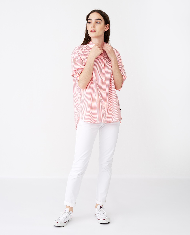 Edith Poplin Shirt, Pink/White Stripe