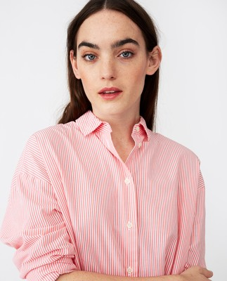 Edith Poplin Shirt, Pink/White Stripe
