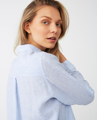 Isa Linen Shirt, Blue/White Stripe