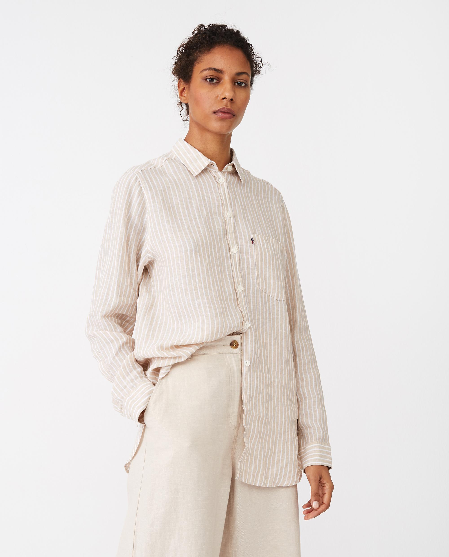 Isa Linen Shirt, Beige/White Stripe