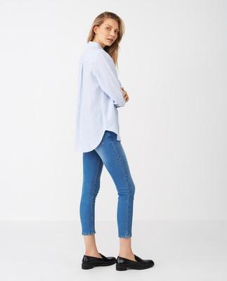 Isa Linen Shirt, Blue/White Stripe
