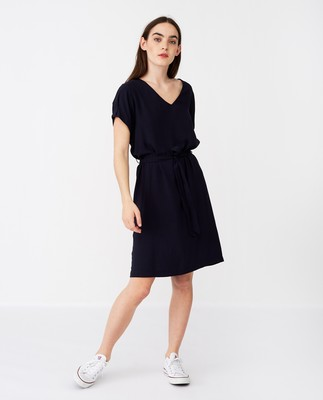 Kristina Solid Dress, Dark Blue
