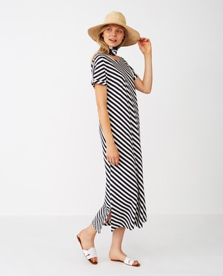 Elana Long Dress, Blue/White Stripe