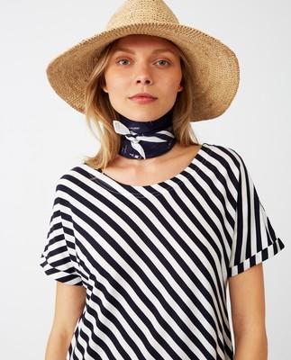 Elana Long Dress, Blue/White Stripe