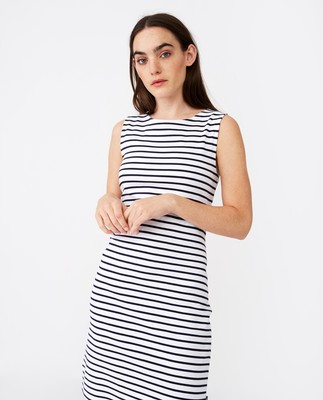 Nellie Tubular Dress, Blue/White Stripe