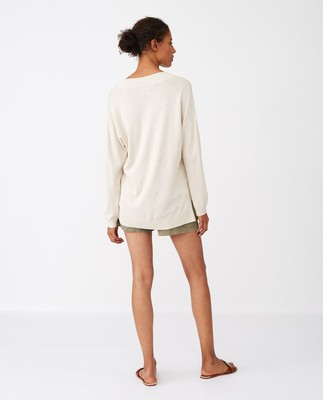 Ana V-neck Sweater, Light Beige Melange