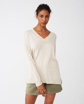 Ana V-neck Sweater, Light Beige Melange