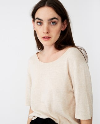 Amber Knitted Cotton/Bamboo Tee. Light Beige Melage