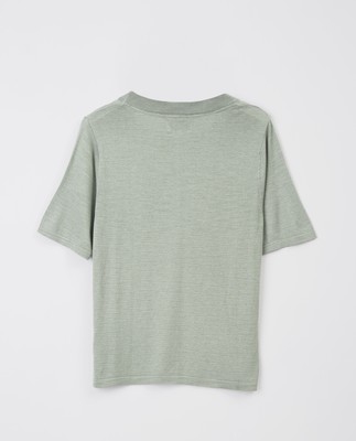 Amber Knitted Cotton/Bamboo Tee, Green