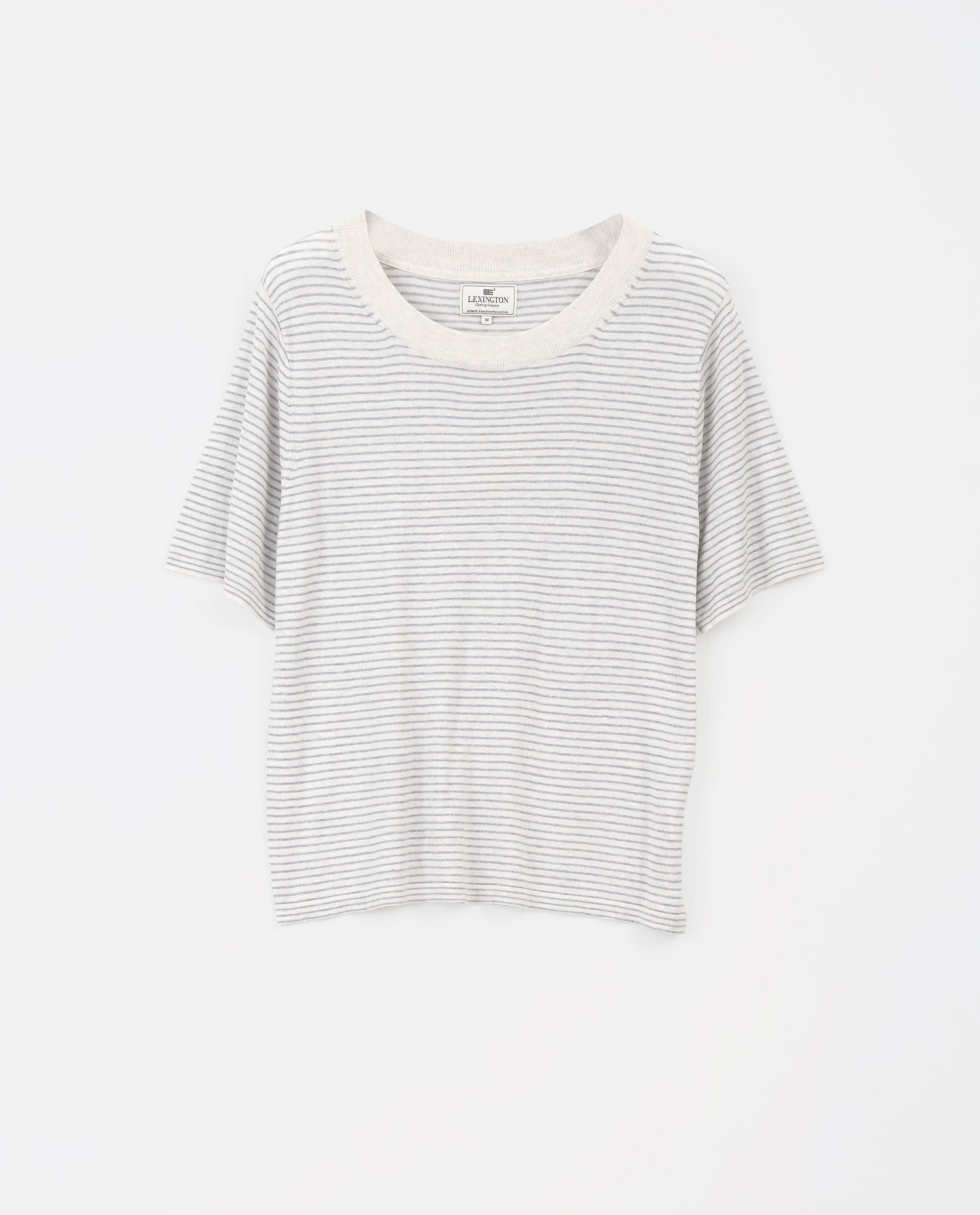Amber Knitted Cotton/Bamboo Tee, Lt Blue/White Stripe