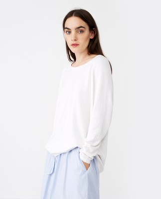 Lea Cotton/Cashmere Sweater, White