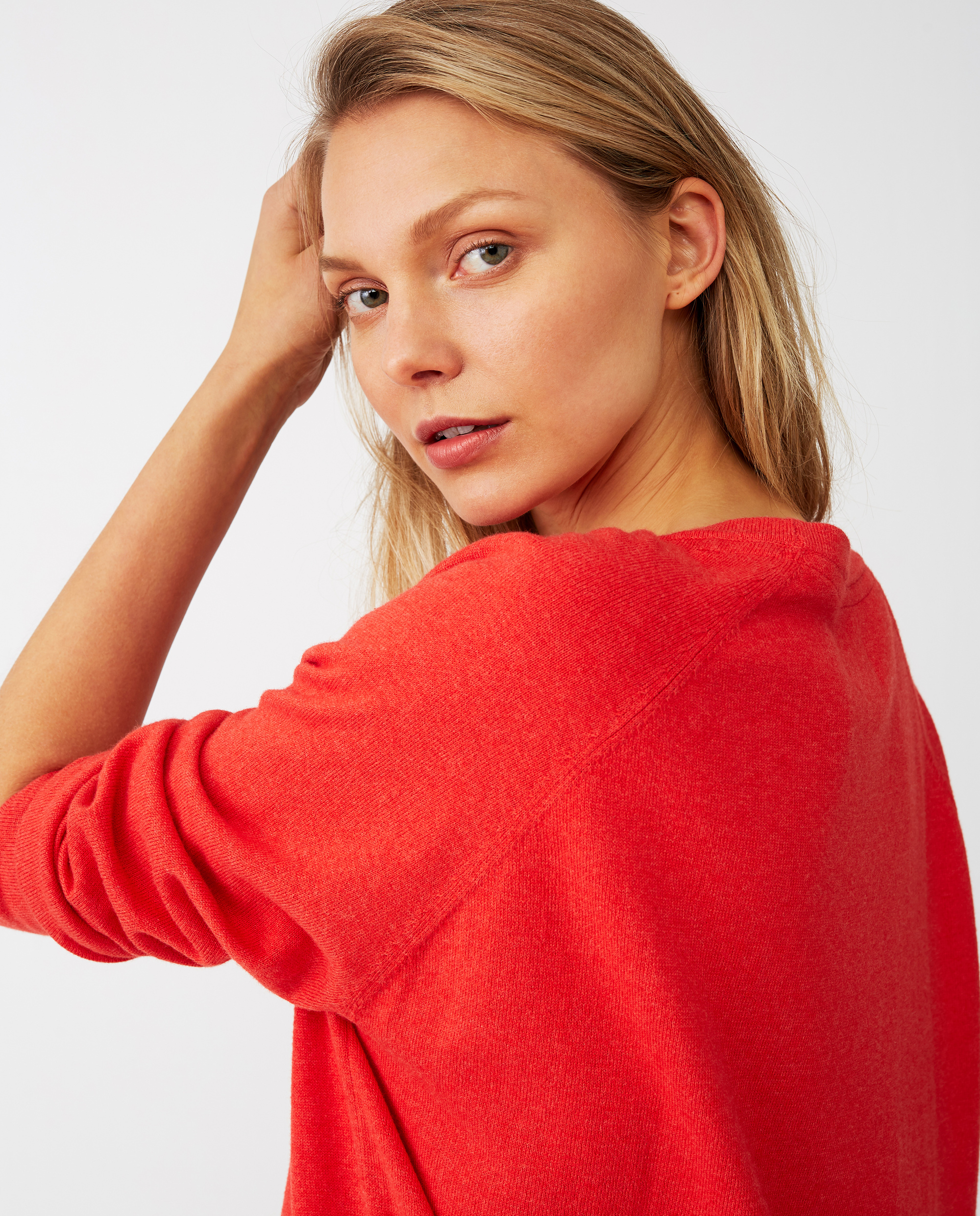 Lea Cotton/Cashmere Sweater, Red