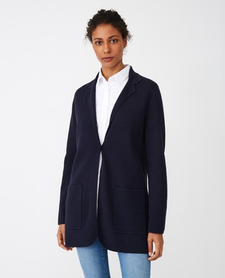 Eli Knitted Blazer, Dark Blue