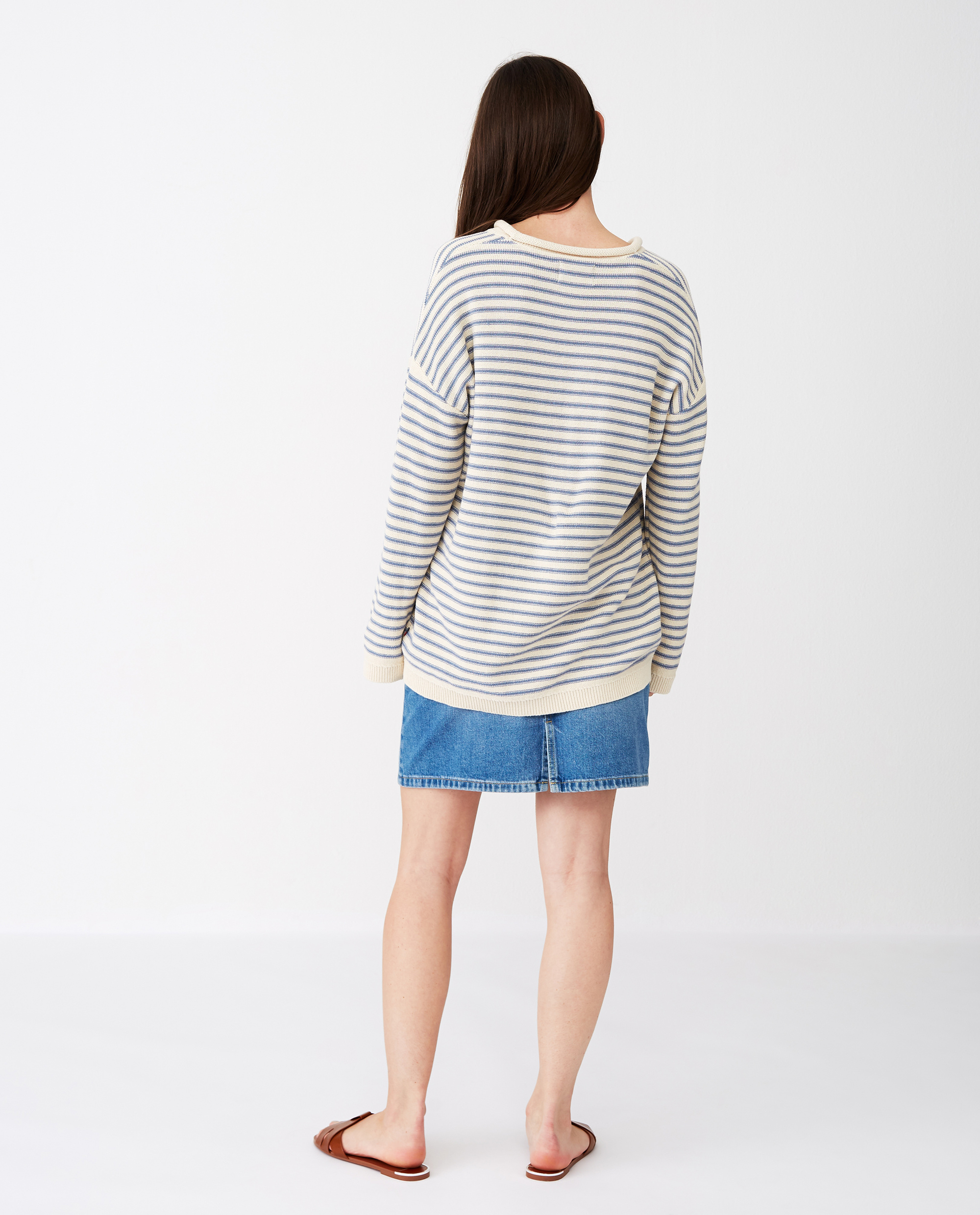 Philippa Sweater, White/Blue Stripe
