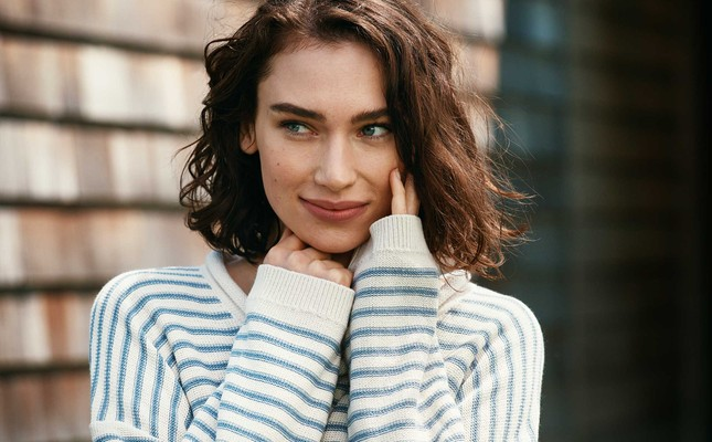 Philippa Sweater, White/Blue Stripe