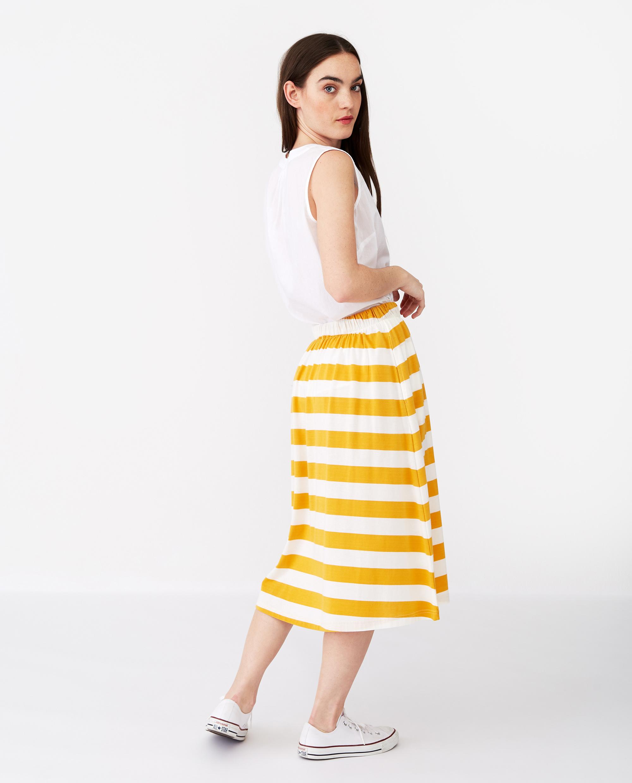 Jenni Jersey Skirt, Yellow/White Stripe