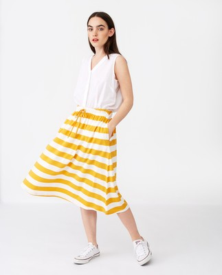 Jenni Jersey Skirt, Yellow/White Stripe
