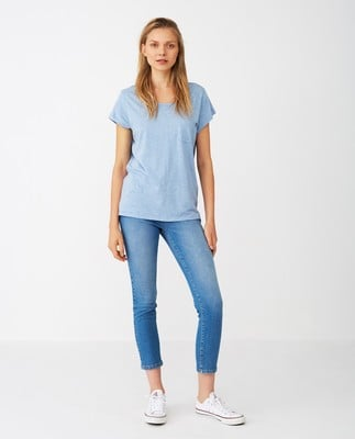 Ashley Jersey Tee, Light Blue Melange