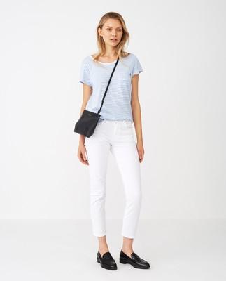 Ashley Jersey Tee, Light Blue/White Stripe