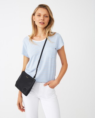 Ashley Jersey Tee, Light Blue/White Stripe