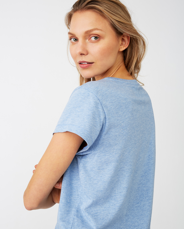 Ashley Jersey Tee, Light Blue Melange