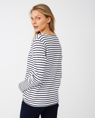 Sandra Sailor Sweater, Blue/White Stripe