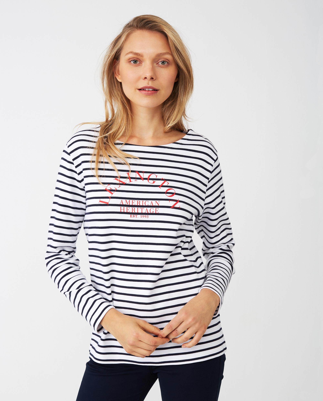 Sandra Sailor Sweater, Blue/White Stripe