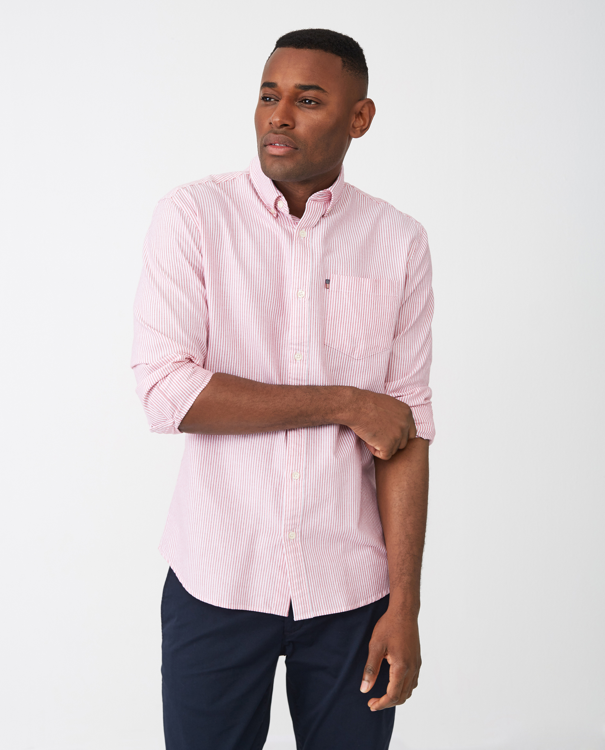 Kyle Oxford Shirt, Red/White Stripe