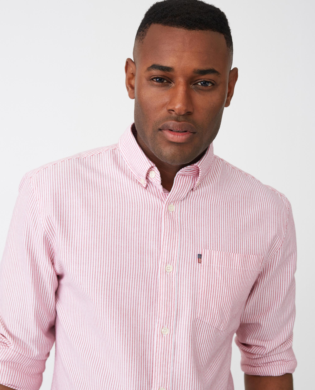 Kyle Oxford Shirt, Red/White Stripe