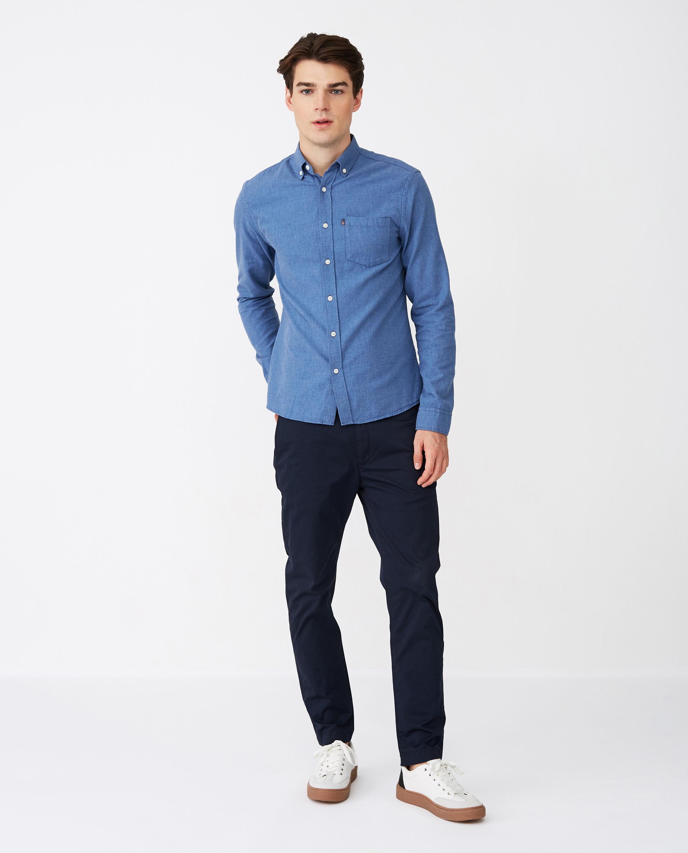 Peter Lt Flannel Shirt, Blue Melange