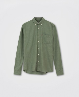 Peter Lt Flannel Shirt, Green Melange