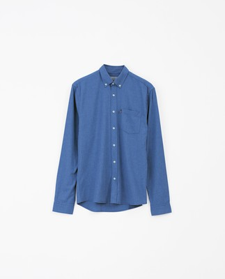 Peter Lt Flannel Shirt, Blue Melange