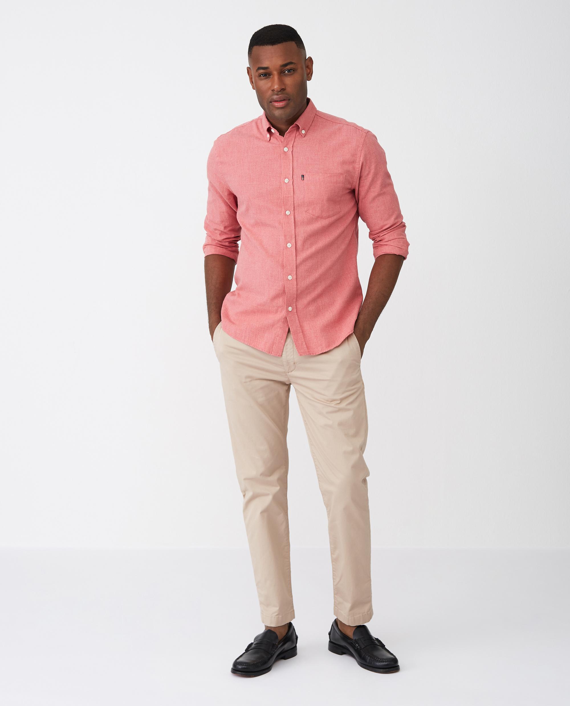 Peter Lt Flannel Shirt, Red Melange