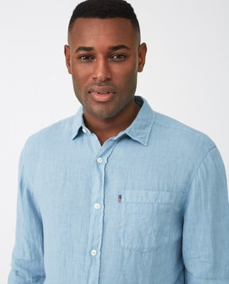 Ryan Linen Shirt, Light Blue