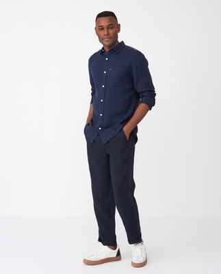 Ryan Linen Shirt, Dark Blue