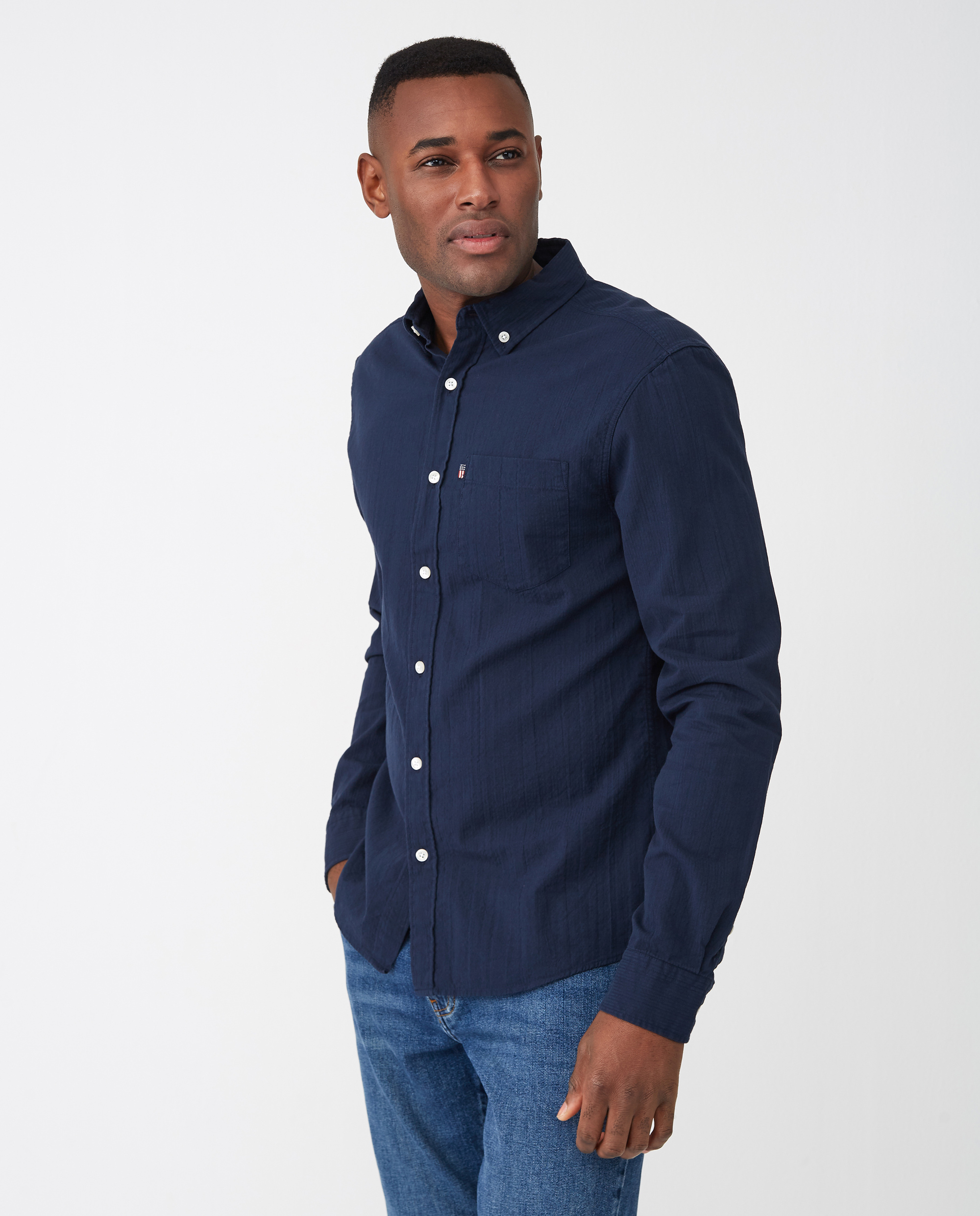 Ron Seersucker Shirt, Dark Blue