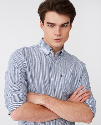 Stewart Shirt, Blue/White Stripe