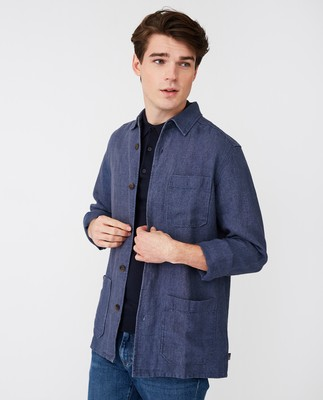 Robert Linen Overshirt, Blue