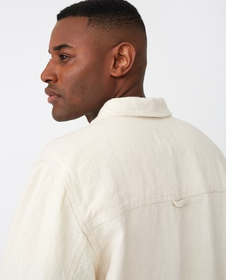 Robert Linen Overshirt, Light Beige