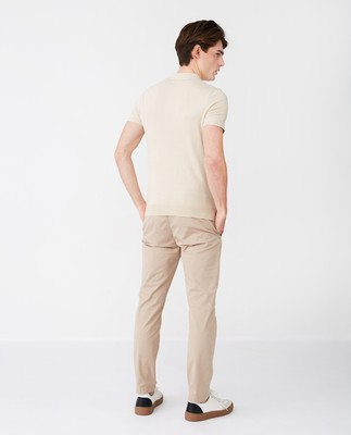 Angelo Knitted Polo Shirt, Light Beige
