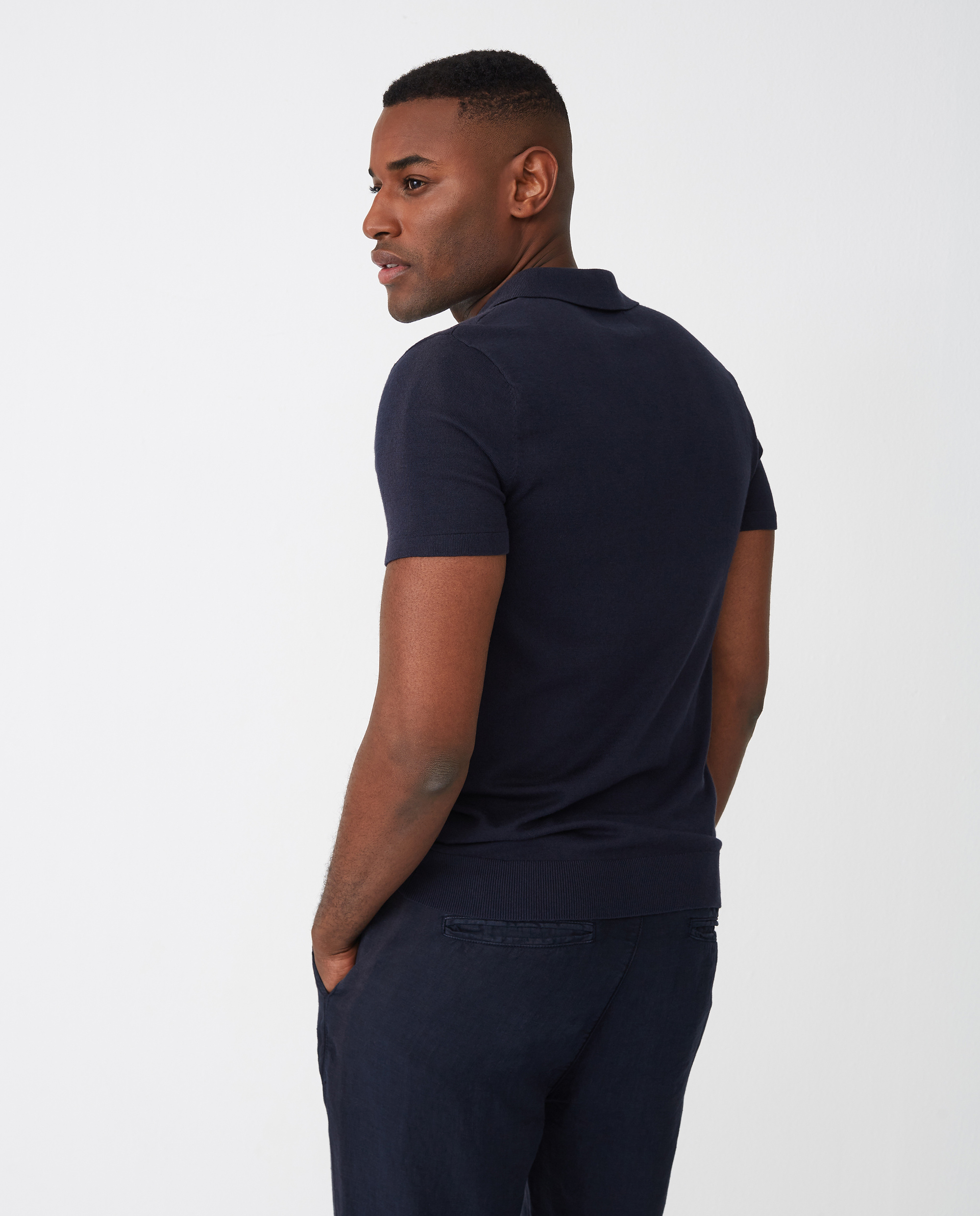 Angelo Knitted Polo Shirt, Dark Blue