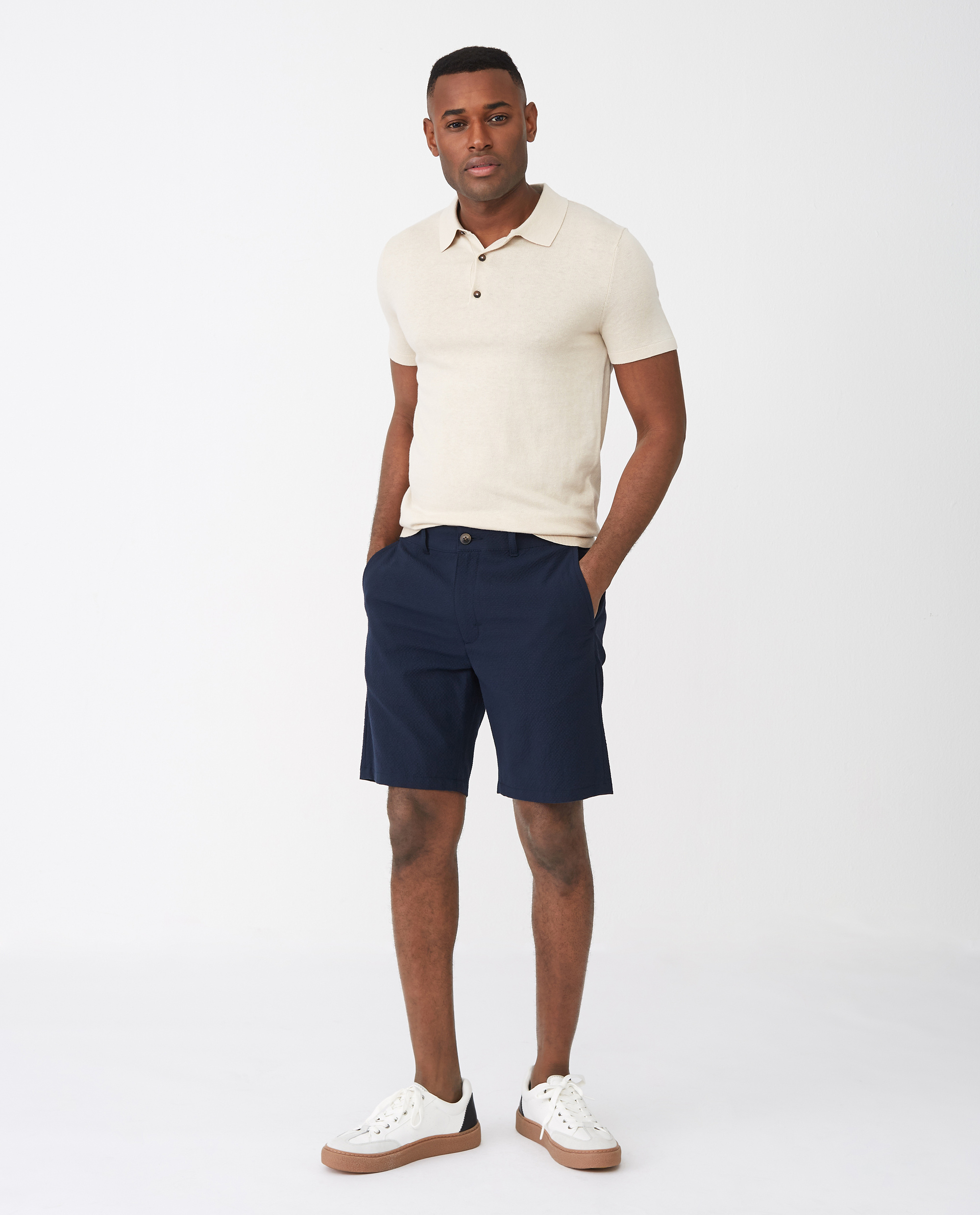 Gavin Seersucker Shorts, Dark Blue