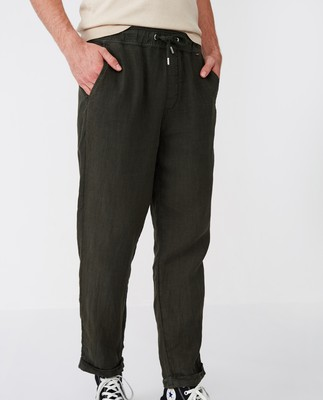 Hugh Linen Pants, Green