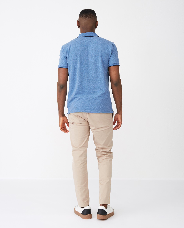 Mitch Polo Shirt, Blue Melange