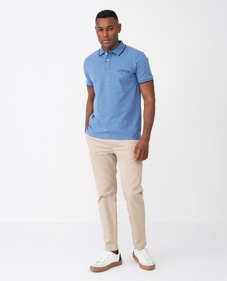 Mitch Polo Shirt, Blue Melange